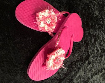 NEW dark pink flip flops HAND MADE to perfection. I had these bows also made just for you