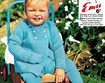 EMU 911 Baby's Pram Set Vintage Knitting Pattern PDF Instant Download
