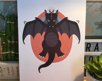 Game of Thrones - Daenerys and Drogon  (A4 Print)