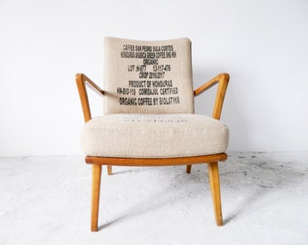 Mid century chair/50s Armchair Coffee sack linen/vintage armchair/vintage chair