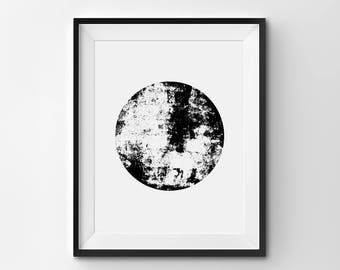 Abstract Sphere Illustration Minimalist Print Black And White Art Circle