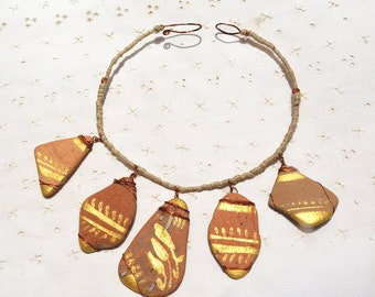 Israeli Sea Pottery Necklace. Ceramic Necklace in Recycled Copper. Gold Brown Tribal Necklace. Hand Painted Ancient Potsherds. Free Shipping