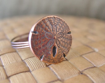 Sand Dollar Button Ring - Antiqued Copper - Made to Order - Any Size