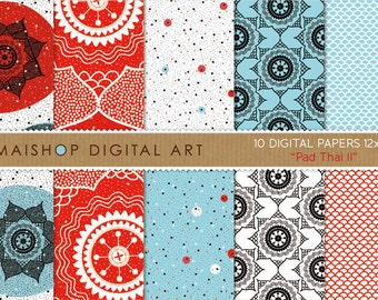 Digital Paper 'Pad Thai II' Red, Blue, White and Black Ethnic Flowers, Fish Scales and Polka Dots - Printable Patterned Paper Download