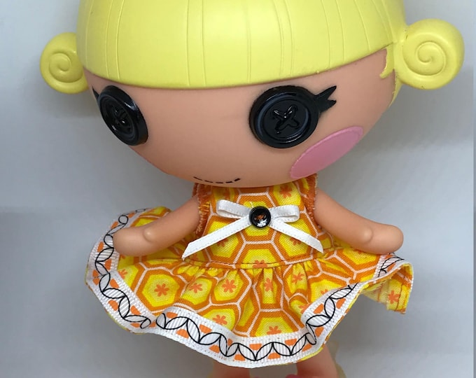 Handmade Dress for Lalaloopsy Little Doll // Little Sister // Doll Clothes // Stocking Stuffer // Under 10 // For Girls // Yellow