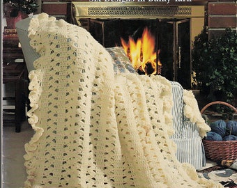 Warm And Cozy Afghans 6 Designs to Knit  & Crochet Pattern Book American School of Needlework 1229