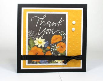 Thank you cards, thanks, handmade thank you card, floral thank you card, greeting cards, thank you greeting card