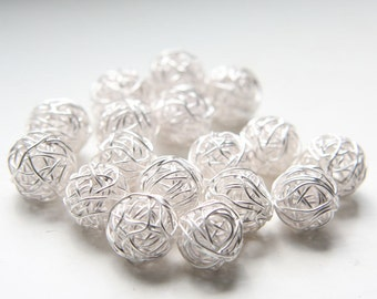 2 Pieces Bright Sterling Silver Wired Ball-Round 12mm