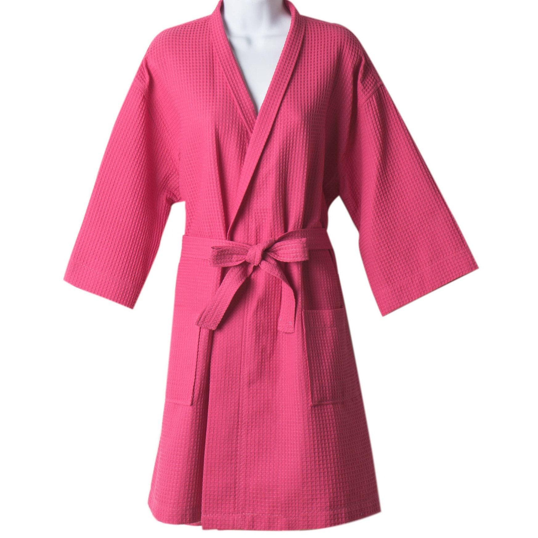 Kimono fucsia Waffle bata personalizada de Dama de honor