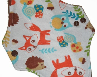 Light Core- Tossed Fox Flannel Reusable Cloth Pantyliner Pad- 8.5 Inches