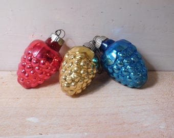 SALE - Set of Three Vintage Christmas Ornaments - Mercury Glass Pinecones