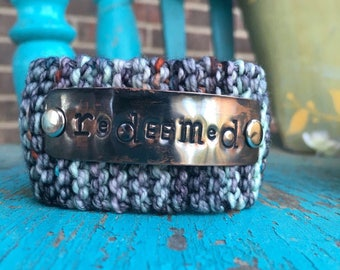 Redeemed Custom Hand Stamped Bracelet, Scripture Bracelet, Bible Verse Jewelry, Grey Knit Cuff Bracelet