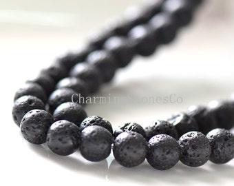 8-16mm Black Lava Rock Round Beads, Volcano Stone round bead, Full Strand