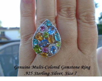 Genuine Multi-Colored Gemstones, Pink Tourmaline, London Blue Topaz Or Peridot & White Topaz Ring