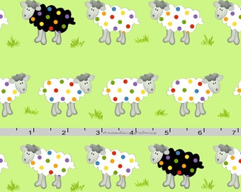 Sheep Fabric, Colorful Sheep Quilt Fabric, Henry Glass Promises HEG 1052 66 Dana Brooks, Polka Dot Green Sheep Fabric, Cotton Yardage