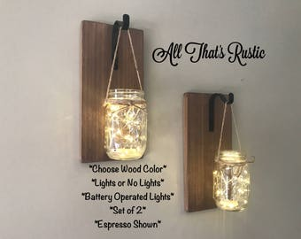 Set of 2 Hanging Mason Jar Sconces, Mason Jar Sconce, Mason Jar Decor, Rustic Decor, Housewarming Gift, Lighted Mason Jars