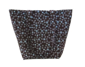 Atomic Starburst Tote Bag, Brown Cloth Purse, Blue Circles, Retro Stars, Fabric Bag, Handmade Handbag, Shoulder Bag