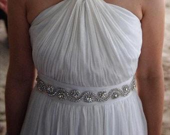 Beaded Bridal Sash, Bridal Belt, Bridal Sash, Rhinestone Sash, Bridal Dress Sash, Jeweled Sash, Bridesmaid Sash, Crystal Belt, Jeweled Belt
