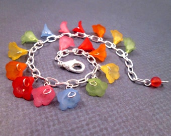 Flower Charm Bracelet, Rainbow Iris, Colorful and Silver Beaded Bracelet, FREE Shipping U.S.