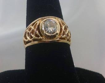 Celtic 14KY Gold ring, our 424 P design