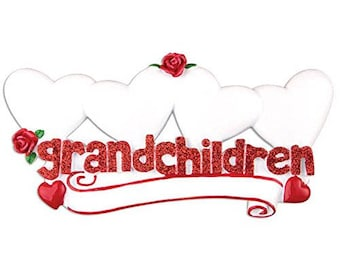Grandchildren With 4 Hearts Personalized Christmas Table Topper Ornaments