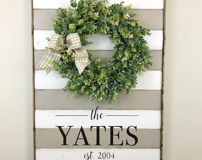 Farmhouse Family Sign | Custom Wreath Family Sign