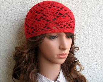 Women's Crochet Summer boho hat Girls summer hat red summer skull hat 100% soft cotton tams hat tight Women's Summer Cotton beret Adult hat