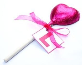 10 Heart or Lip Shaped Chocolate Lollipops, 5 Colours Available