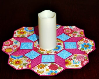 Quilted Table Mat - Octagon - Table Mat - Candle Mat - Reversible - Pink Floral and Butterfly Octagon Table Mat