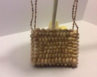 Vintage Handmade Hawaiin Shell Shoulder Bag, Shabby Chic Purse, Retro Style, Bohemian, Boho Look, Vacation Bag