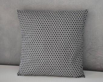 Cushion - 40 x 40 cm - fabric Japanese asanoha - toned black and black