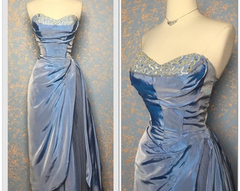 Old Hollywood Vintage Ball gown long dress / Shelf bust / Glamour 30s 40s 50s