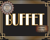 Buffet Sign Printable Roaring 20s Prohibition Era Art Deco Gatsby Party Gold Black White Wedding Food Bar Speakeasy Event Illuminate Sign