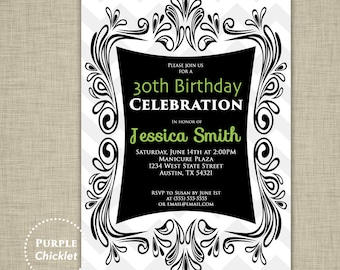 30th Birthday Invitation Black and Lime Green Party Invite Gray Chevron Whimsical Ornate Adult Invitation Printable Invite JPEG file 227