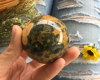 Rare Flower Kabamaby ocean jasper sphere, ocean jasper orb ,  ocean jasper  free form,  healing stone, love stone, druzy palmstone