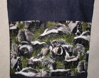 New Large Handmade Skunk Wildlife Denim Tote Bag