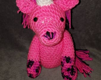 Crochet, Pink Unicorn, Amigurami, Stuffed Toy