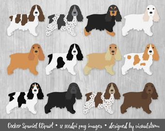 Cocker Spaniel Clipart Hunting Dog Breeds Sporting Dogs English Cocker Spaniel Black Red Roan Liver White Silver Tricolor Pet Scrapbooking