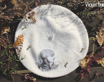 Beret · Cream White Wool  · Asylum · Medical Horror Lolita Beret · Autumn Collection ·