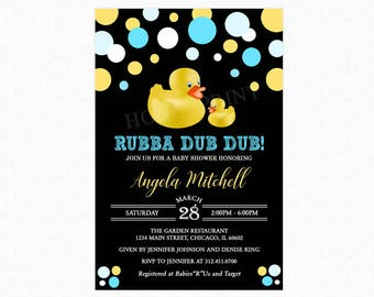 Rubber Duck Baby Shower Invitation, Rubba Dub Dub Duck Invitation, Polka Dots, Blue, Yellow, Printable and Printed