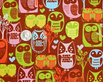 Woodlands Owls - Fabric by the Half Yard 18 inches x 42 inches