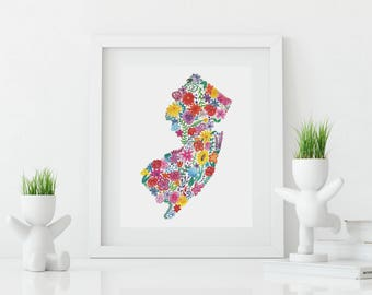 NEW JERSEY Floral Watercolor Print Digital Download