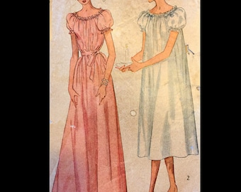 Vintage 50s Ribbon Trimmed Lacy Gathered Puff Sleeve Chemise Nightgown in Tow Lengths  Sewing Pattern 2691 B31