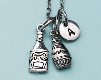 Condiment necklace, condiment charm, food necklace, personalized necklace, initial necklace, monogram