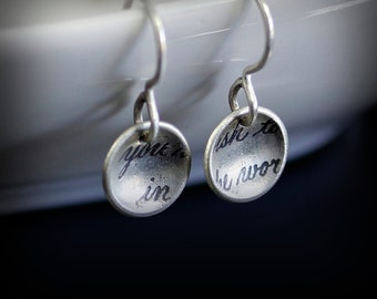 Handwritten Text Fragment Earrings - Etched Sterling Silver Saucers