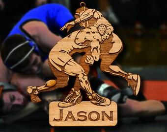 Wooden Wrestling Ornament