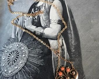 "EDWARDIAN LAVALIERE PENDANT Antique 1800's Art Nouveau Genuine Angel Skin Coral & Pearls 9Ct. Gold / Antique Woven 14K Gold Filled Chain 19"""