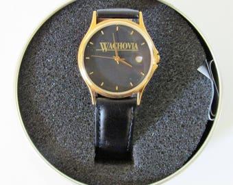Wachovia Service Anniversary Watch With Leather Band