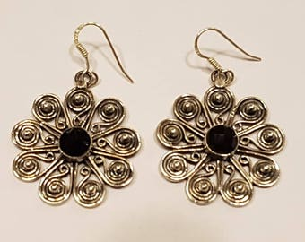 Gorgeous Daisy Shaped Dropper Earrings 92.5 Sterling Silver and Black Onyx Handmade New Boho Retro Style