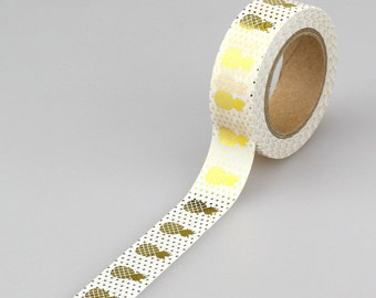 Gold Foil Pineapple Washi Tape, Embellishment, Craft Tape, Decorative Tape, Printed Tape, Scrapbooking Tape (2A15)